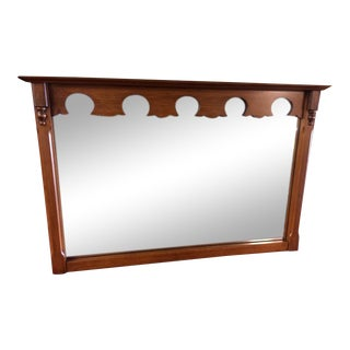 1970s Traditional Rock Maple Rectangular Mirror For Sale