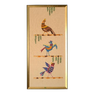Mid Century Three Birds Crewel Embroidery Wall Hanging