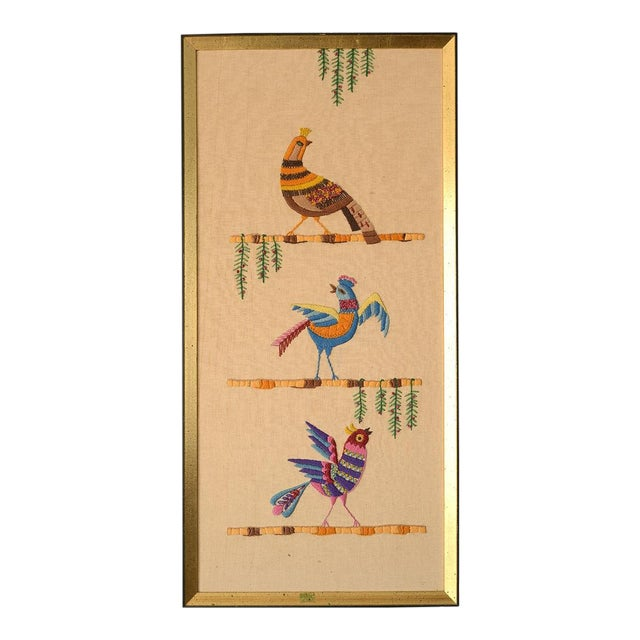 Mid Century Three Birds Crewel Embroidery Wall Hanging For Sale