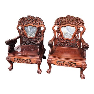 1970s Vintage Asian Rosewood Throne Chairs- a Pair For Sale
