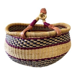 1980s African Bolga Ghana Market Basket For Sale