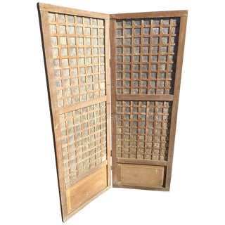 Antique Capiz Shell Two-Panel Hinged Screen For Sale
