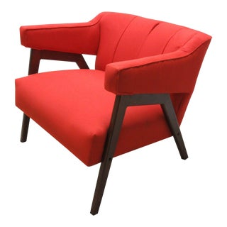 Mid-Century Danish Modern Style Orange Lounge Chair For Sale