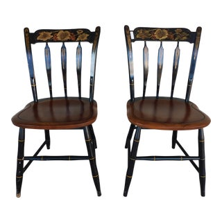 L Hitchcock Black & Harvest Stenciled Arrow Back Side Chairs - a Pair For Sale