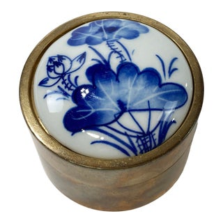 Brass and Porcelain Pill Box For Sale