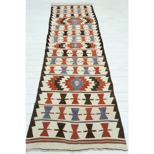 "Textile Vintage Turkish Kilim Runner-3'5'x10'11"" For Sale - Image 7 of 13"