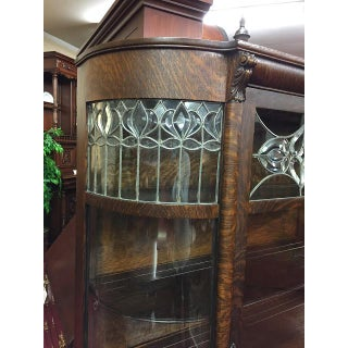 Antique Leaded Glass Bowed China Cabinet Preview