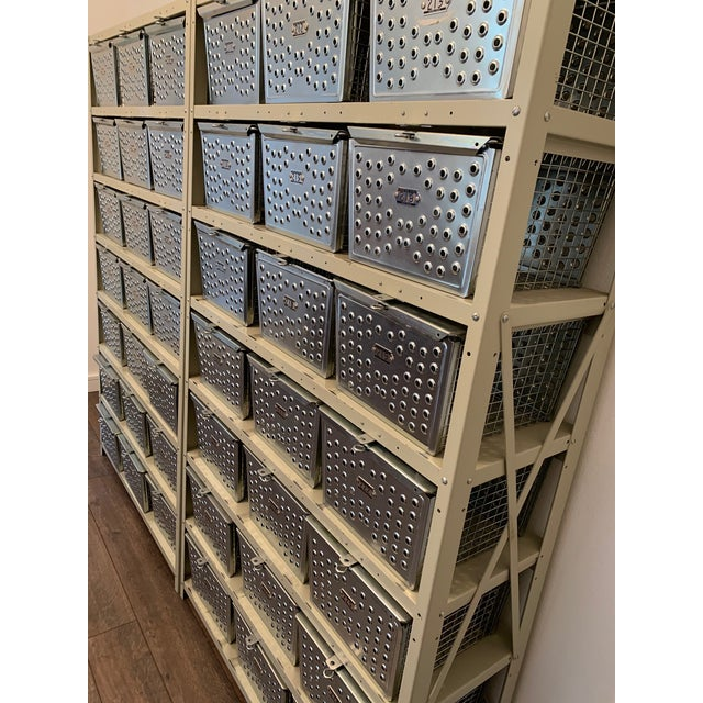 Metal Vintage Industrial Wire Swim and Gym Baskets With Shelving Set of 2 For Sale - Image 7 of 13