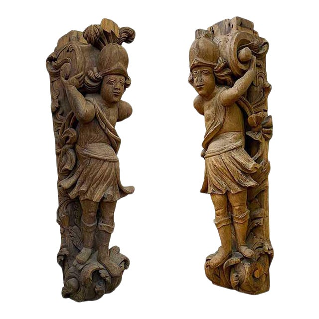 17th Century Carved Italian Figures - a Pair For Sale