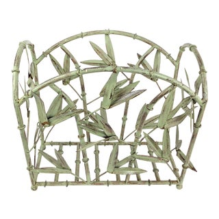 1950s Italian Tole Bamboo-Themed Magazine Rack For Sale
