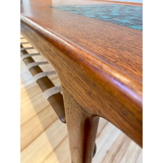Brown 1960s Danish Modern Arne Hovmand-Olsen Teak Coffee Table With Tile Inlay For Sale - Image 8 of 13