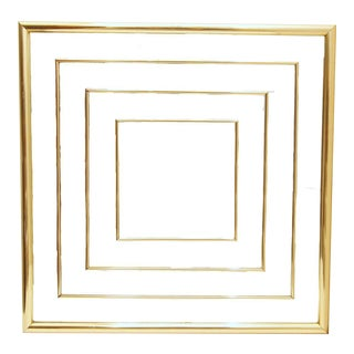 Vintage 70's 80's Gold Foil Square Inlay Wall Mirror - 2 Available For Sale