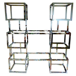 Milo Baughman Style Chrome and Glass Etagere For Sale