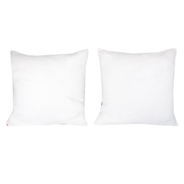 """Custom made matching pair of designer pillows from discontinued, difficult to find fabrics. Fronted by """"Waterside"""" from..."""