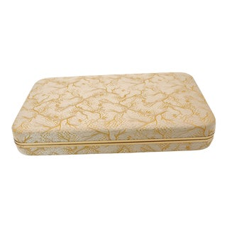 Vintage Champagne and Gold Embroidered Silk Cufflink Box For Sale