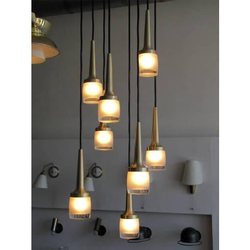 Eight Hanging Light Brass Chandelier by Staff of Germany For Sale - Image 9 of 10