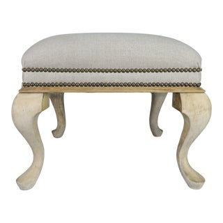 Swedish Natural Wood Linen Upholstered Bench For Sale