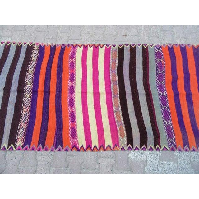 Turkish 1960s Turkish Striped Kilim Runner For Sale - Image 3 of 6