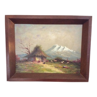 Vintage Hector Moncayo Village Scene Painting For Sale