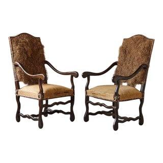 Michael Trapp Louis XIV Style Os De Mouton Fauteuils Chairs- a Pair For Sale