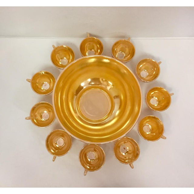 Ceramic 1960s Anchor Glass Peach Luster Nostalgia Punch Serving - Set of 12 For Sale - Image 7 of 11
