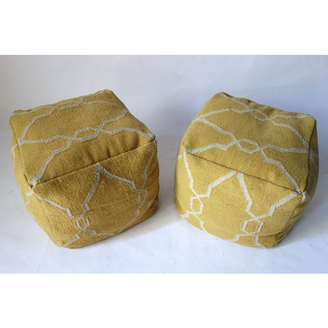 Primitive Yellow Dhurrie Poufs -Pair For Sale - Image 3 of 5
