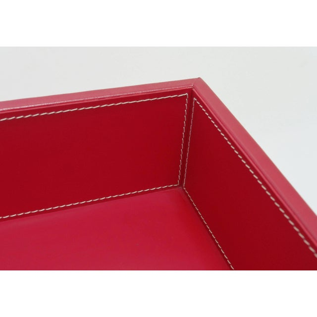 Red Leather and Stainless Steel Tray Table by Fabio Ltd For Sale In Palm Springs - Image 6 of 8