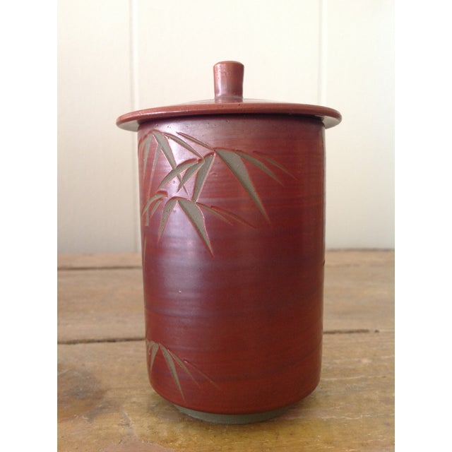 Japanese Small Cylindrical Ceramic Pot With Lid and Bamboo Decoration. For Sale - Image 4 of 5