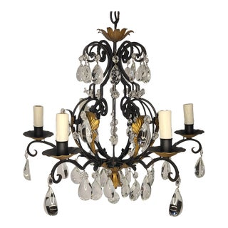 Antique French Country Wrought-Iron and Crystal Chandelier For Sale