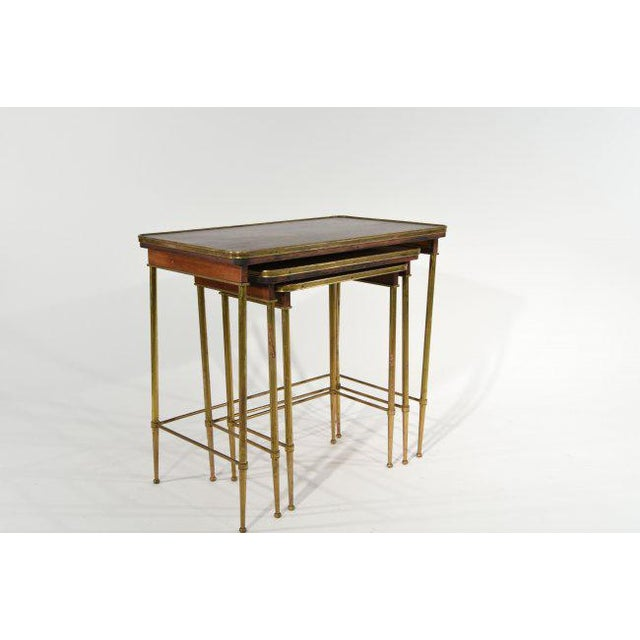 Mid-Century Modern Brass & Wood Nesting Tables - Set of 3 For Sale - Image 3 of 7