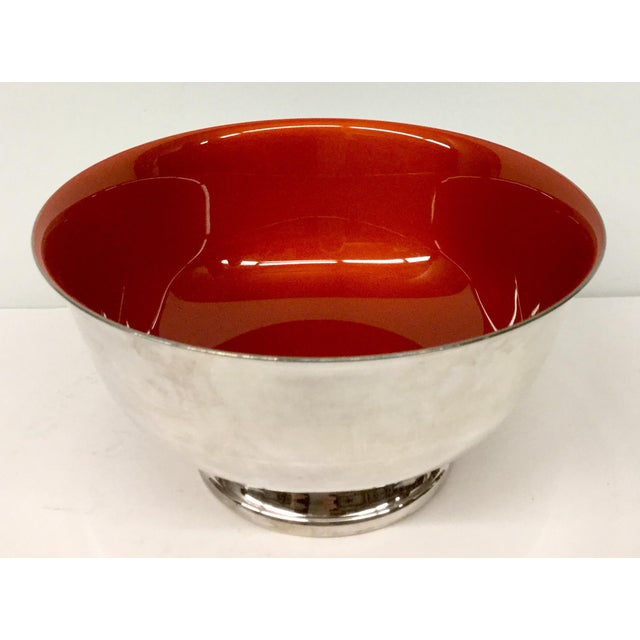 Such a gorgeous and rich red color. A bit of orange gives this red silver plated Enamel bowl its beautiful presence. In...