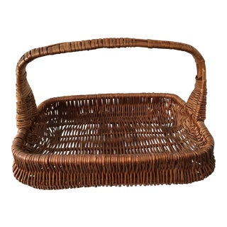 Vintage French Wicker Garden Tool Caddie