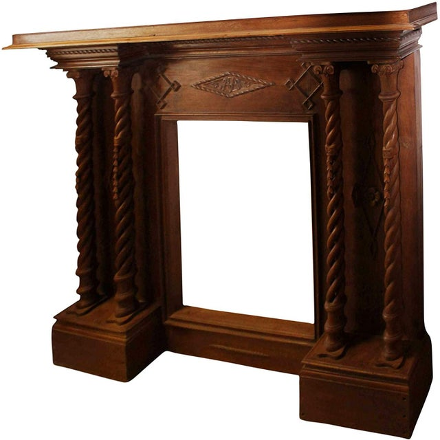Wood Antique Indian Hand-Carved Fireplace Console For Sale - Image 7 of 7