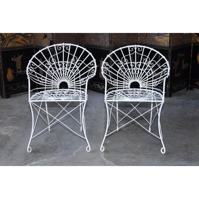 Metal French Wrought Iron and Wire Garden Patio Set For Sale - Image 7 of 10