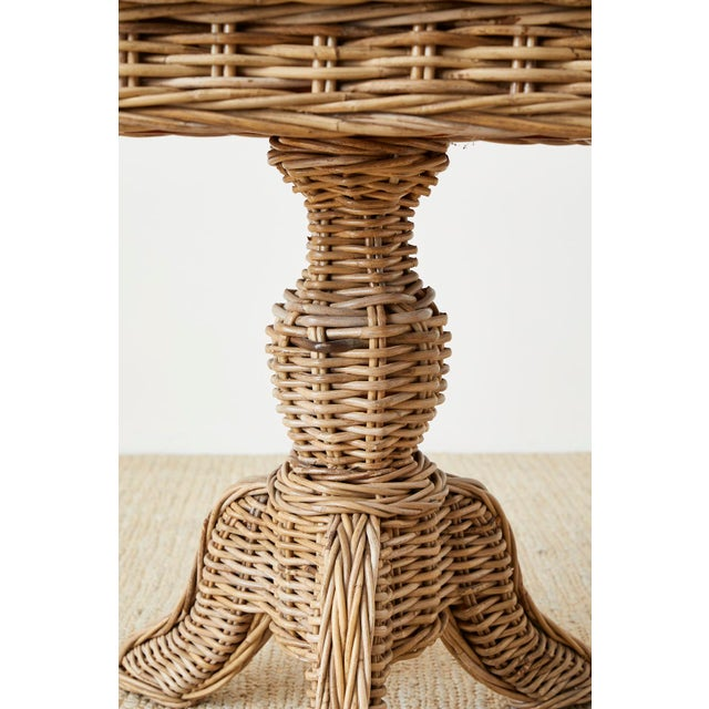 Mid 20th Century Woven Wicker and Rattan Pedestal Center Table For Sale - Image 5 of 13