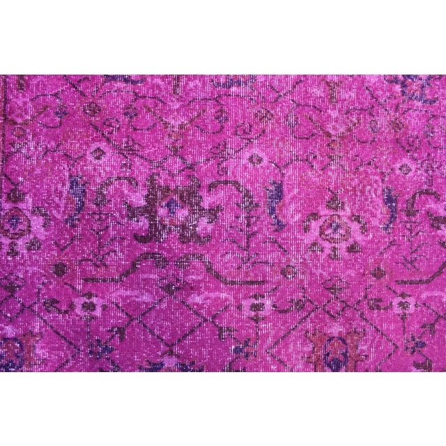 Hot Pink Overdyed Hand Woven Rug - 6′10″ × 10′1″ - Image 6 of 7