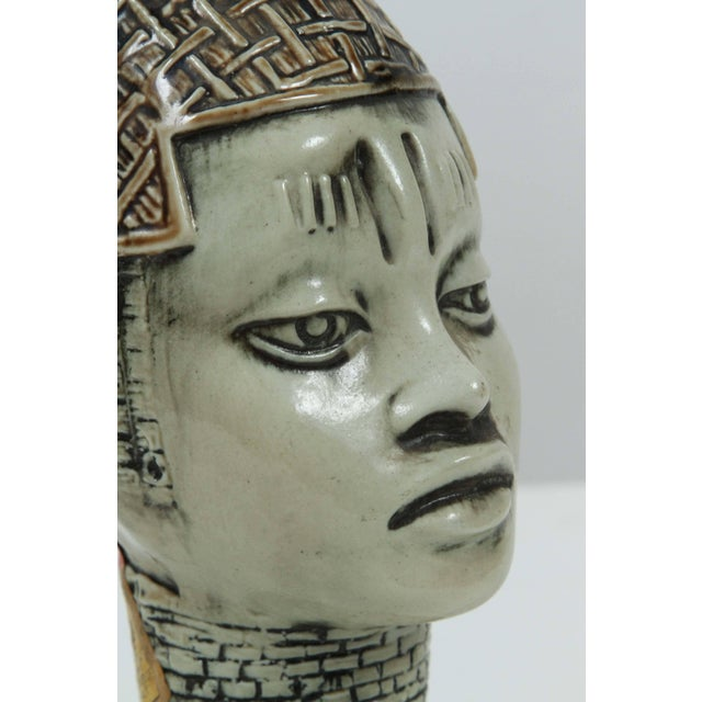 Ceramic African Benin Queen Mother Commemorative Ceramic Head by the Edo People For Sale - Image 7 of 10