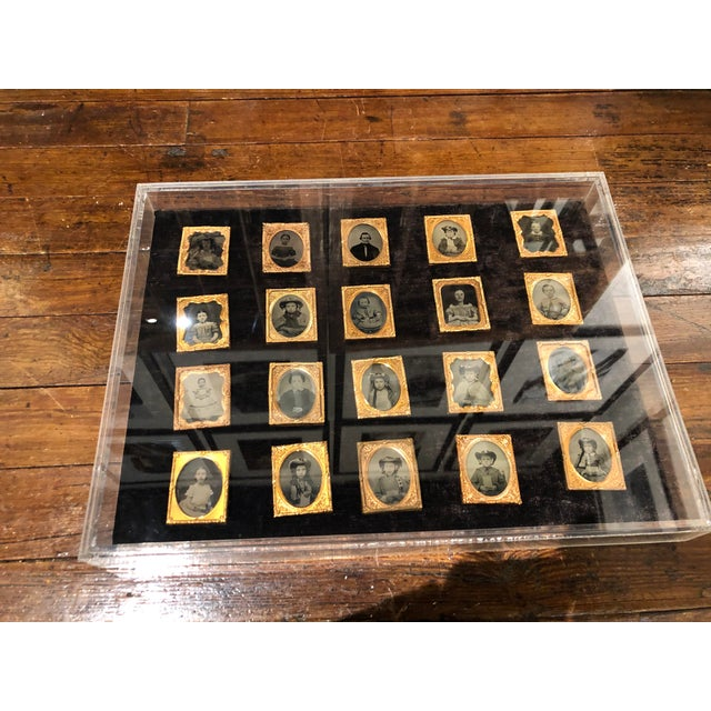Collection of School Children and Teacher Portraits Circa 1870 in Acrylic Case - Set of 20 For Sale - Image 10 of 13