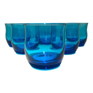 Turquoise Blue Roly Poly Bar or Juice Glasses - Set of 6 For Sale