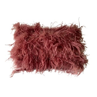 African Ostrich Feather Lumbar Pillow For Sale