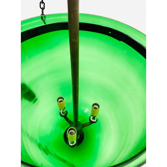 Traditional Green Glass Bell Jar Pendant For Sale - Image 11 of 13