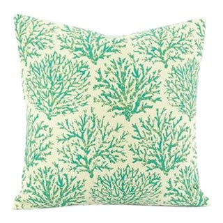 Blue and Green on Ivory Coral Pattern Pillow Cover For Sale