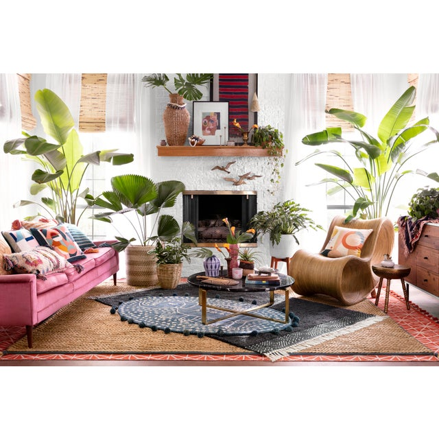 """Loloi Rugs Justina Blakeney X Loloi Pink / Orange 22"""" X 22"""" Cover with Down Pillow For Sale - Image 4 of 5"""