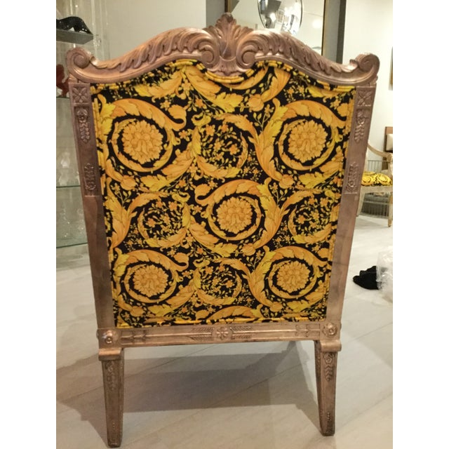 1960s Vintage Gianni Versace Black Gold Upholstery Throne Swan Chair For Sale In Miami - Image 6 of 13