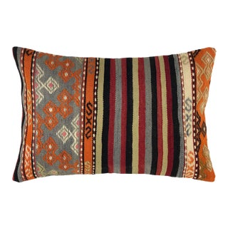 "Touch of Tangerine Kilim Lumbar Pillow 16"" X 24"" For Sale"