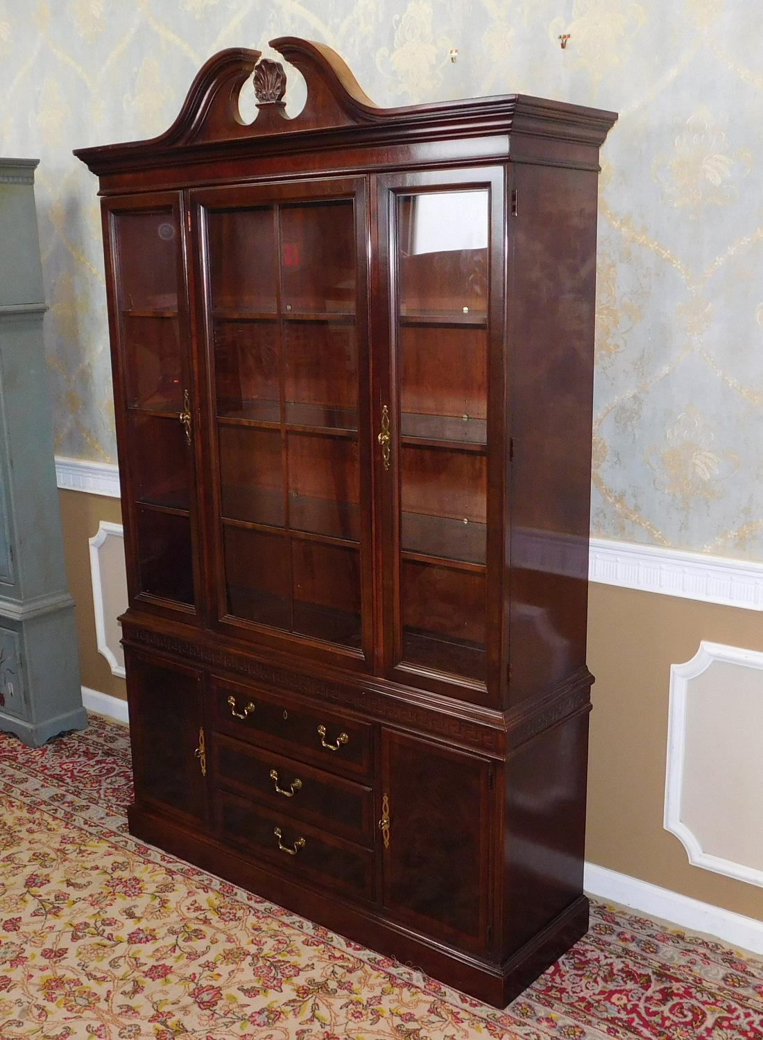 Good Mahogany Drexel Heritage Chippendale Style Dining Room China Cabinet  1990s   Image 3 Of 10