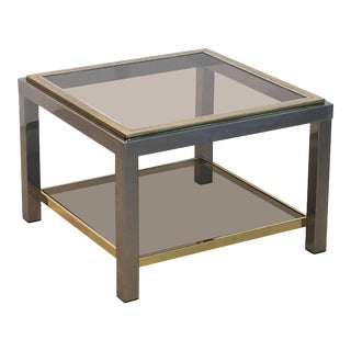 Italian Square Low Table of Brass, Chrome, and Smoked Glass by Zevi For Sale