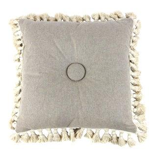 Gray Wool & Cotton Tassel Fringe Floor Pillow For Sale