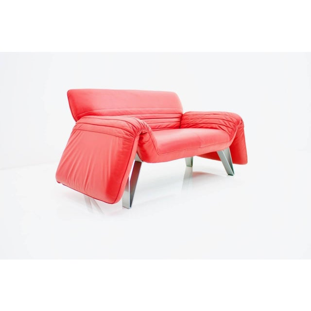 1980s De Sede Leather Sofa Ds 142 by Wilfried Totzek in Red Swiss 1988 For Sale - Image 5 of 11