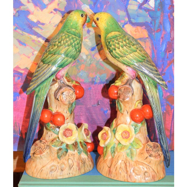 1980s Vintage Green Majolica Parakeets Figurines - a Pair For Sale In Houston - Image 6 of 8